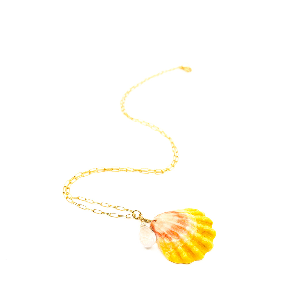 Hawaiian sunrise shell on simple gold chain necklace by eve black jewelry made in Hawaii