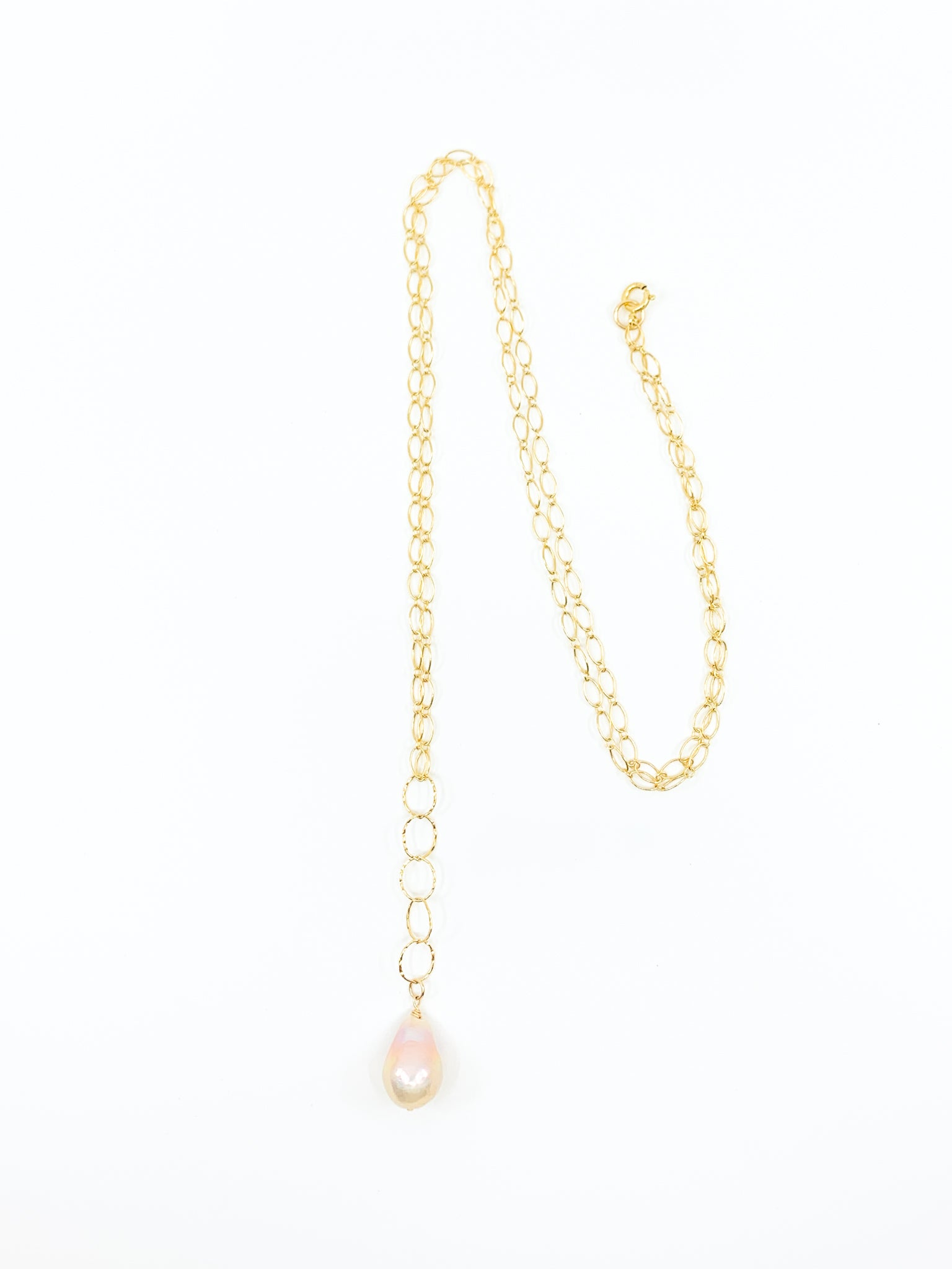 natural pink pearl long gold necklace by eve black jewelry made in Hawaii