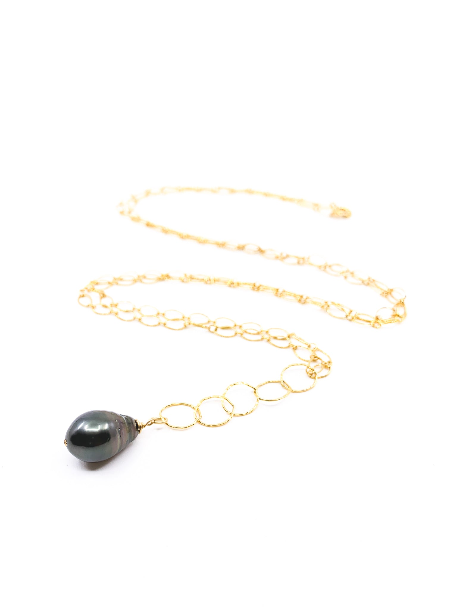 single tahitian pearl long necklace by eve black jewelry handmade in Hawaii