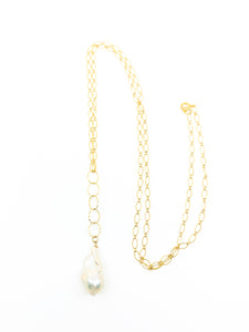 white flameball pearl long necklace by eve black jewelry made in Hawaii