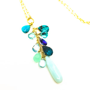 blue gemstones maui ocean necklace by eve black jewelry made in Hawaii