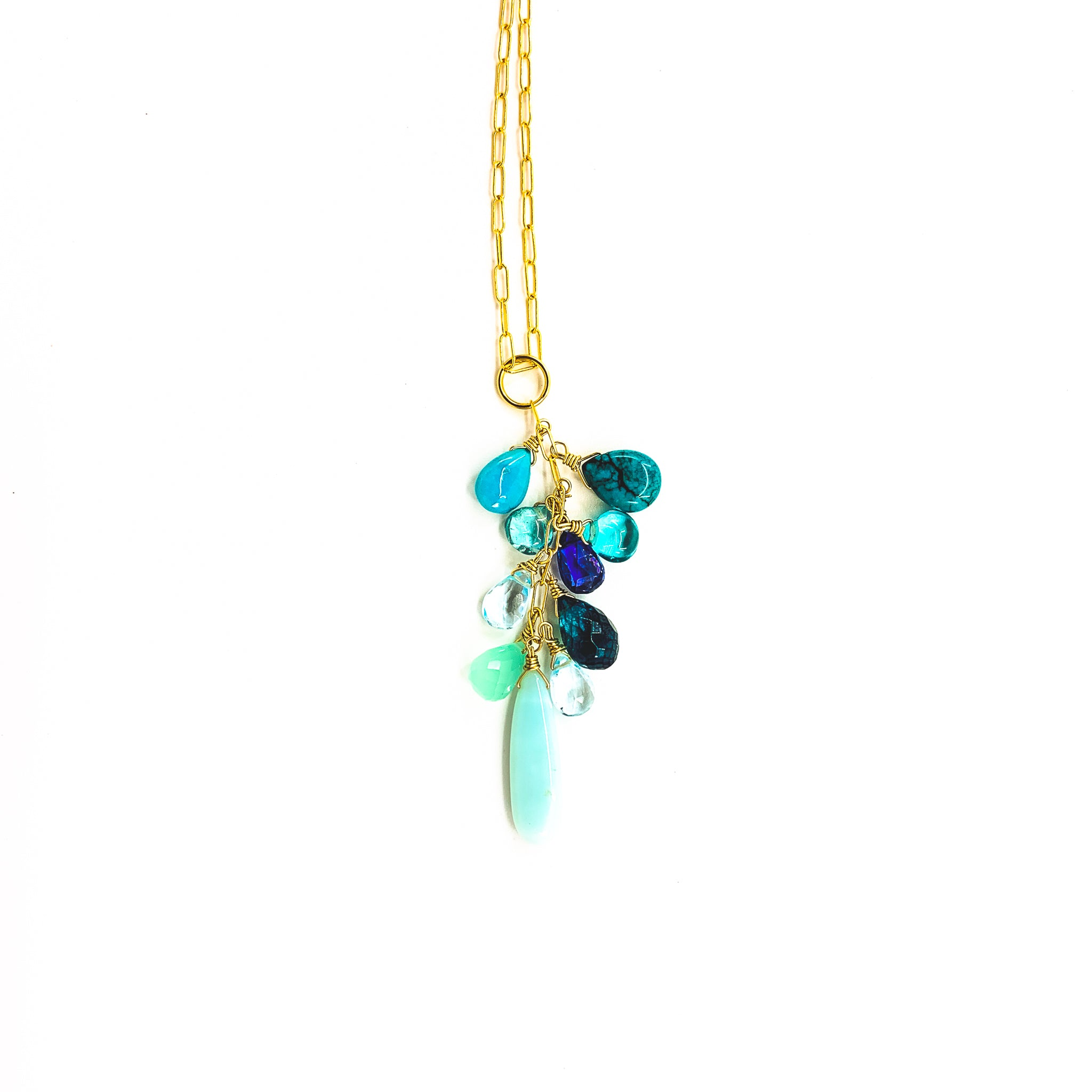 blue gemstones maui ocean necklace by eve black jewelry made in Hawaii  Edit alt text