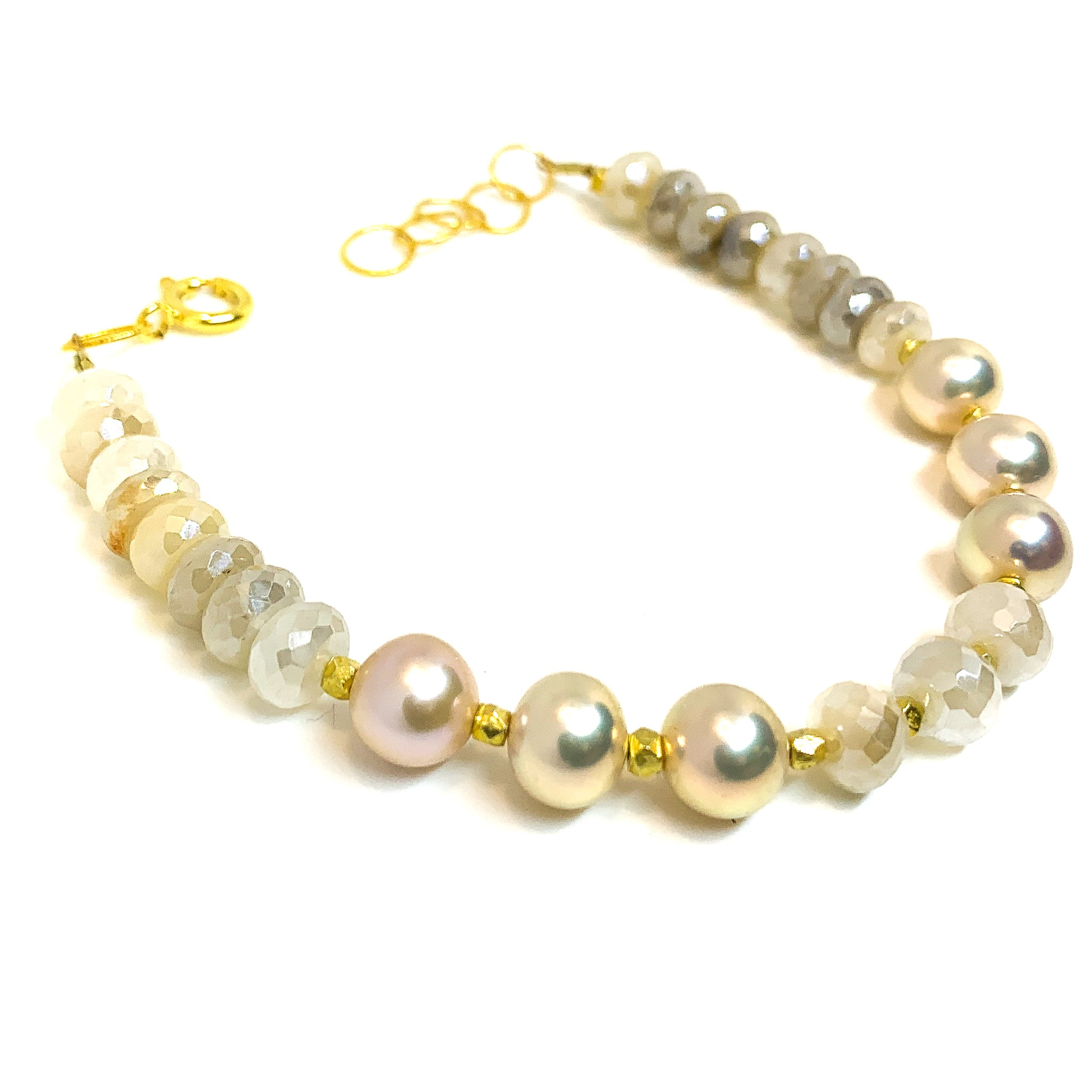 moonstone and natural pink pearl bracelet by eve black jewelry, Hawaii