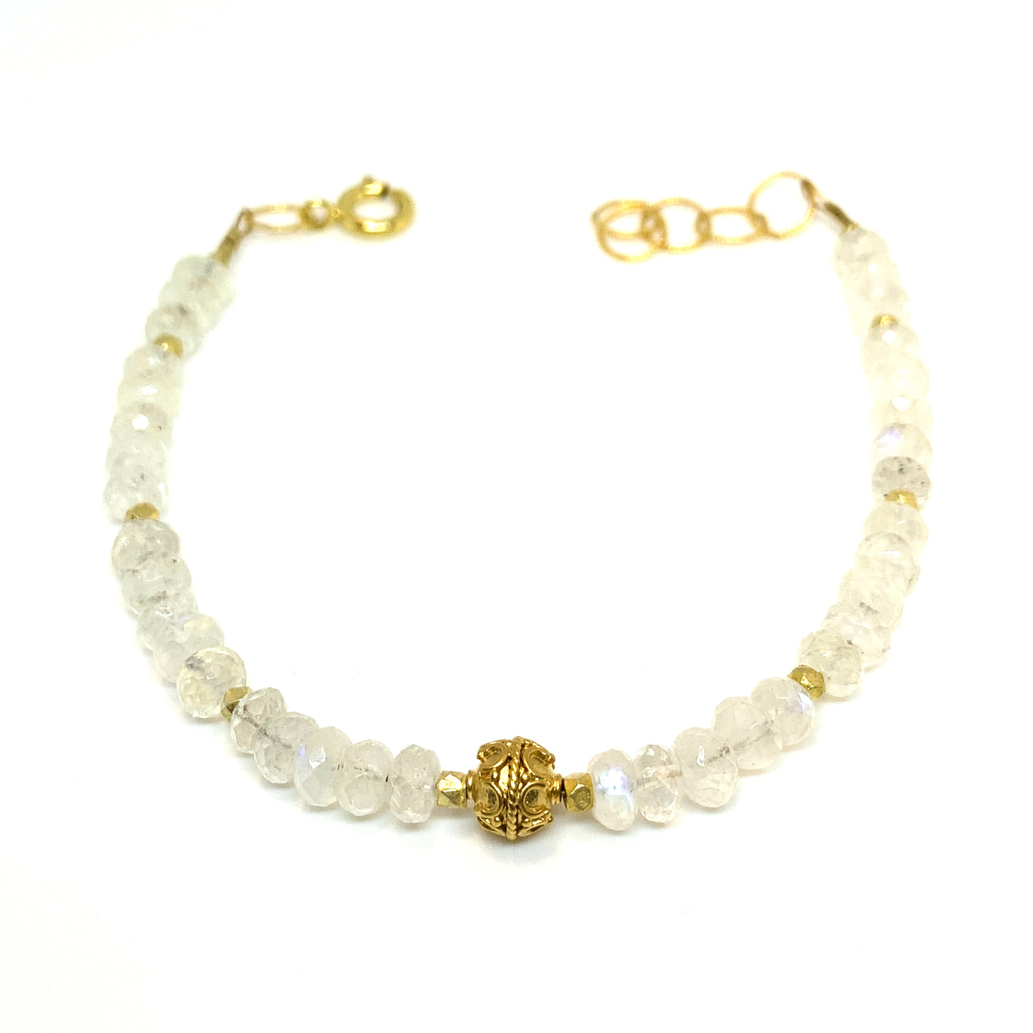 faceted moonstone and vermeil bead bracelet by eve black jewelry, Hawaii
