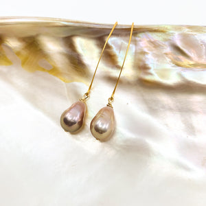 pink baroque Edison pearls gold earrings by eve black jewelry made in Hawaii