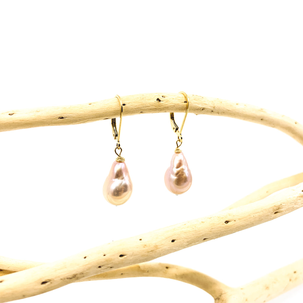 natural pink baroque pearl earrings with safety ear wires by eve black jewelry made in hawaii