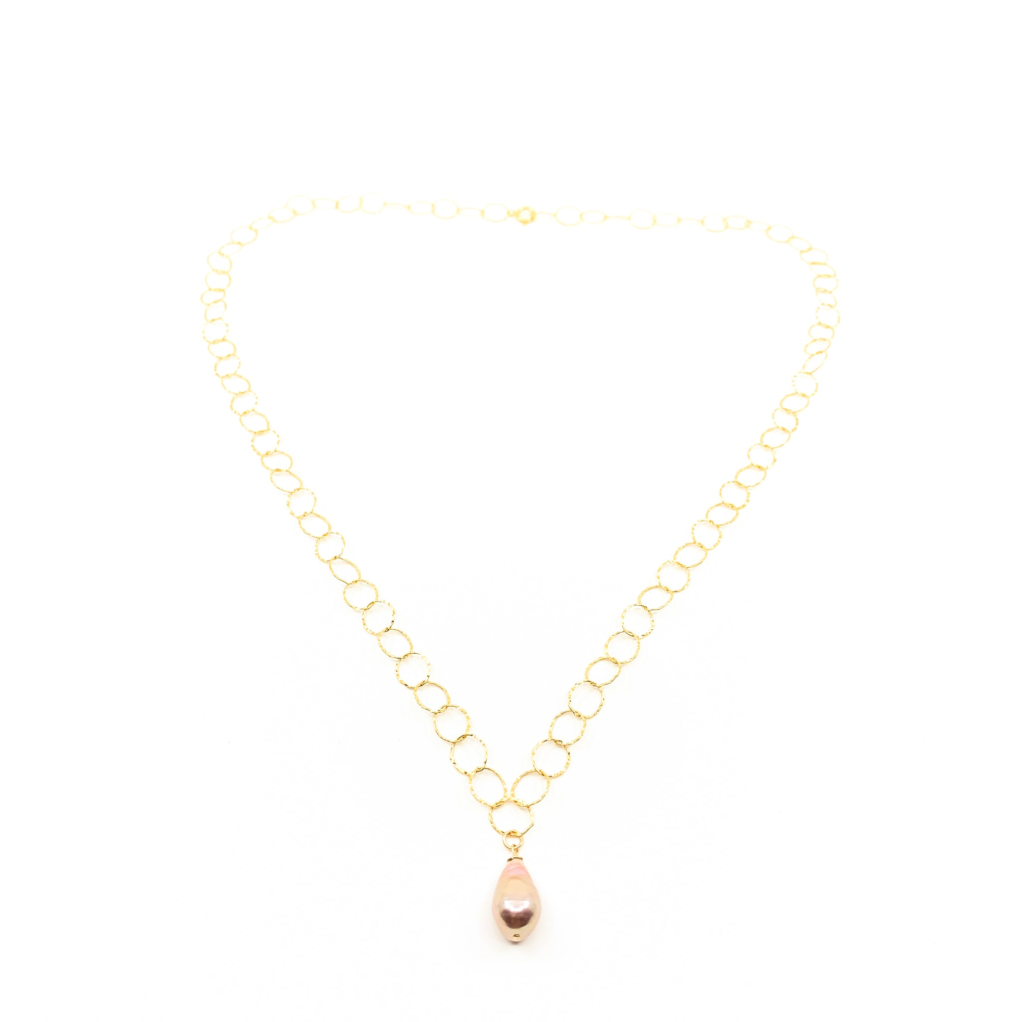 natural pink pearl gold round chain necklace by eve black jewelry made in Hawaii
