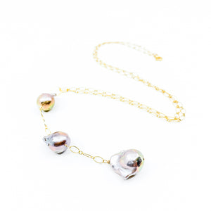 3 natural colored pink edison pearls on long gold chain by eve black jewelry made in Hawaii  Edit alt text