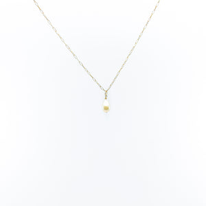 simple gold chain white drop shape pearl necklace by eve black jewelry made in Hawaii  Edit alt text