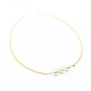 gold disc chain 3 white pearls necklace by eve black jewelry made in Hawaii