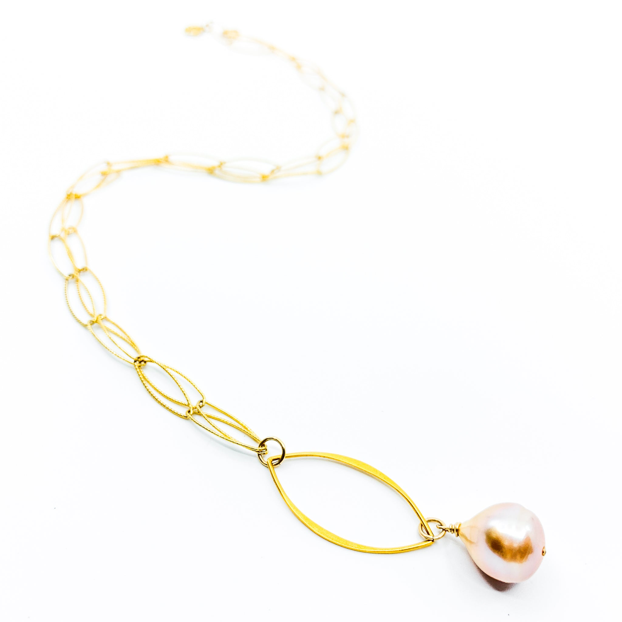gold marquee chain natural pink pearl necklace by eve black jewelry made in Hawaii