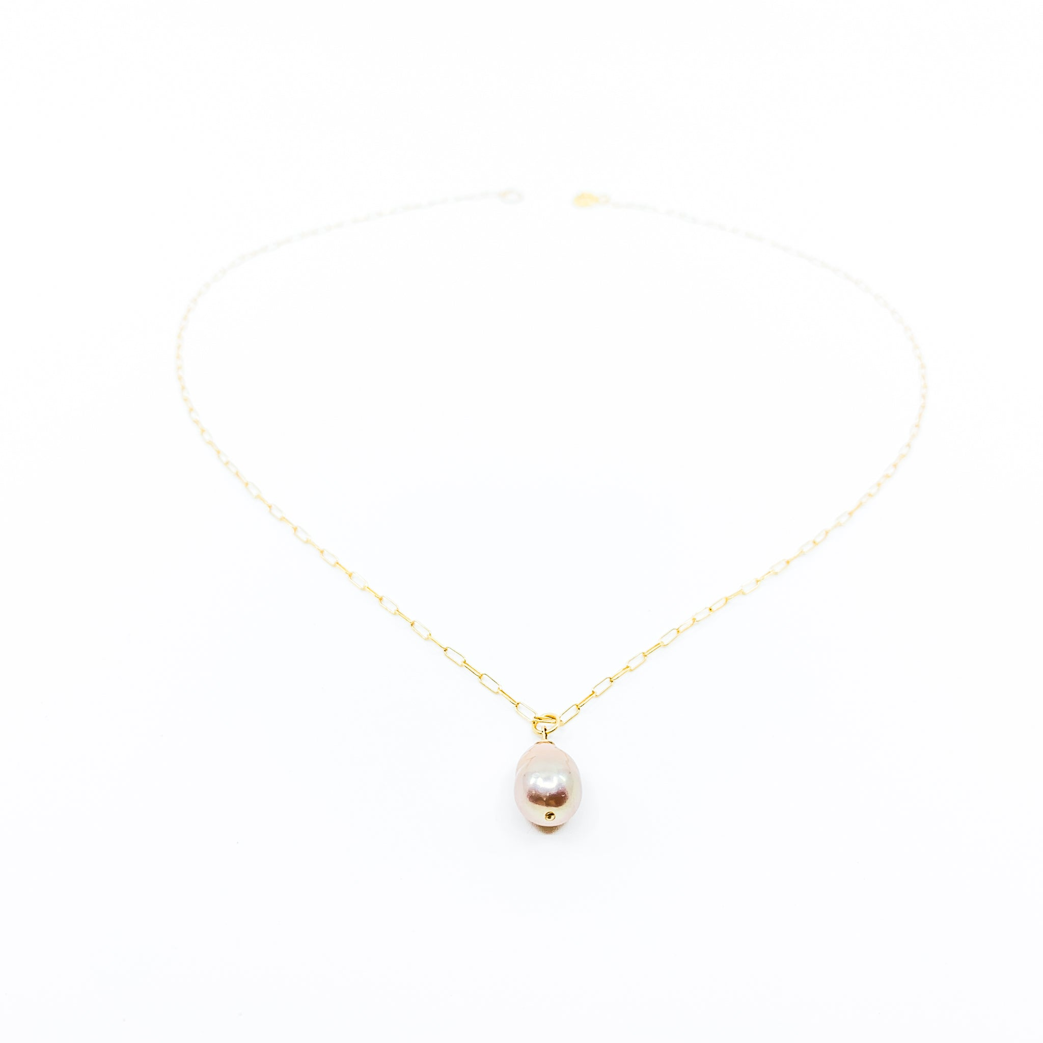 simple gold chain natural color pink baroque pearl necklace by eve black jewelry made in Hawaii  Edit alt text