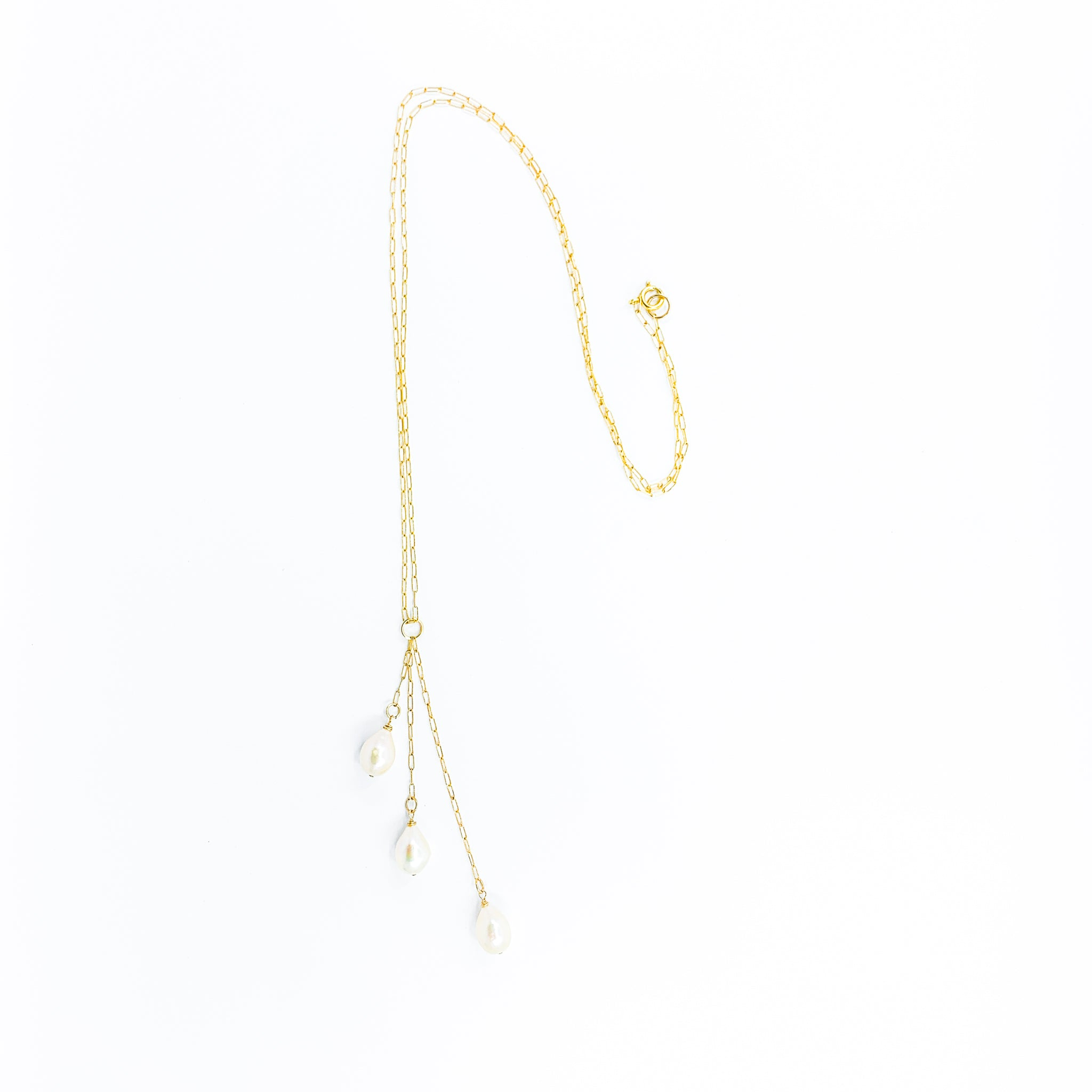 waterfall style gold necklace with 3 white pearls by eve black jewelry made in Hawaii  Edit alt text