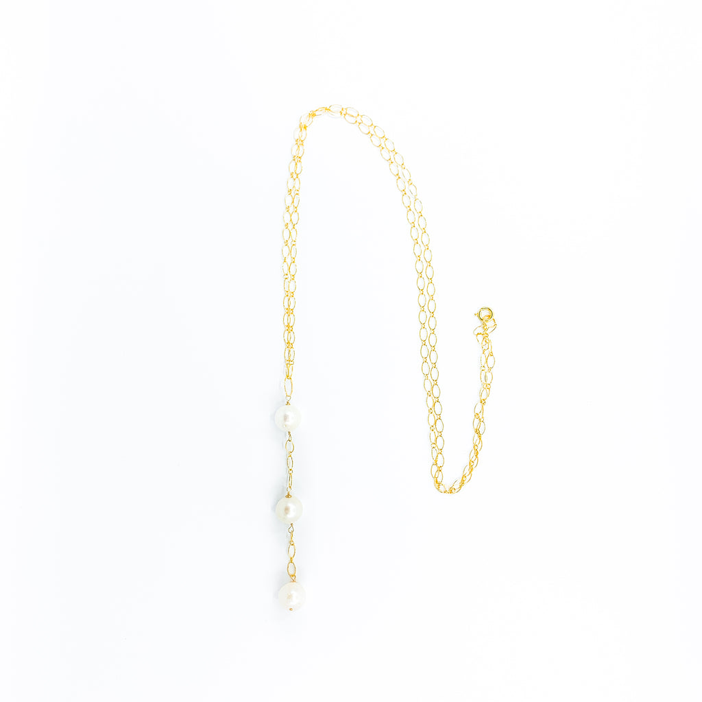 long gold chain 3 white pearls necklace by eve black jewelry made in Hawaii