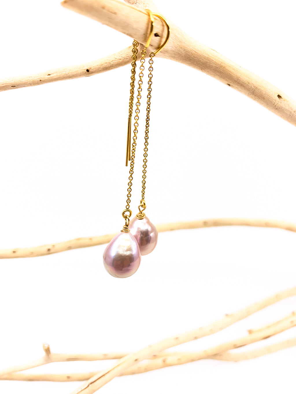 natural 'pink' Edison Baroque pearls gold threader earrings by eve black jewelry made in Hawaii