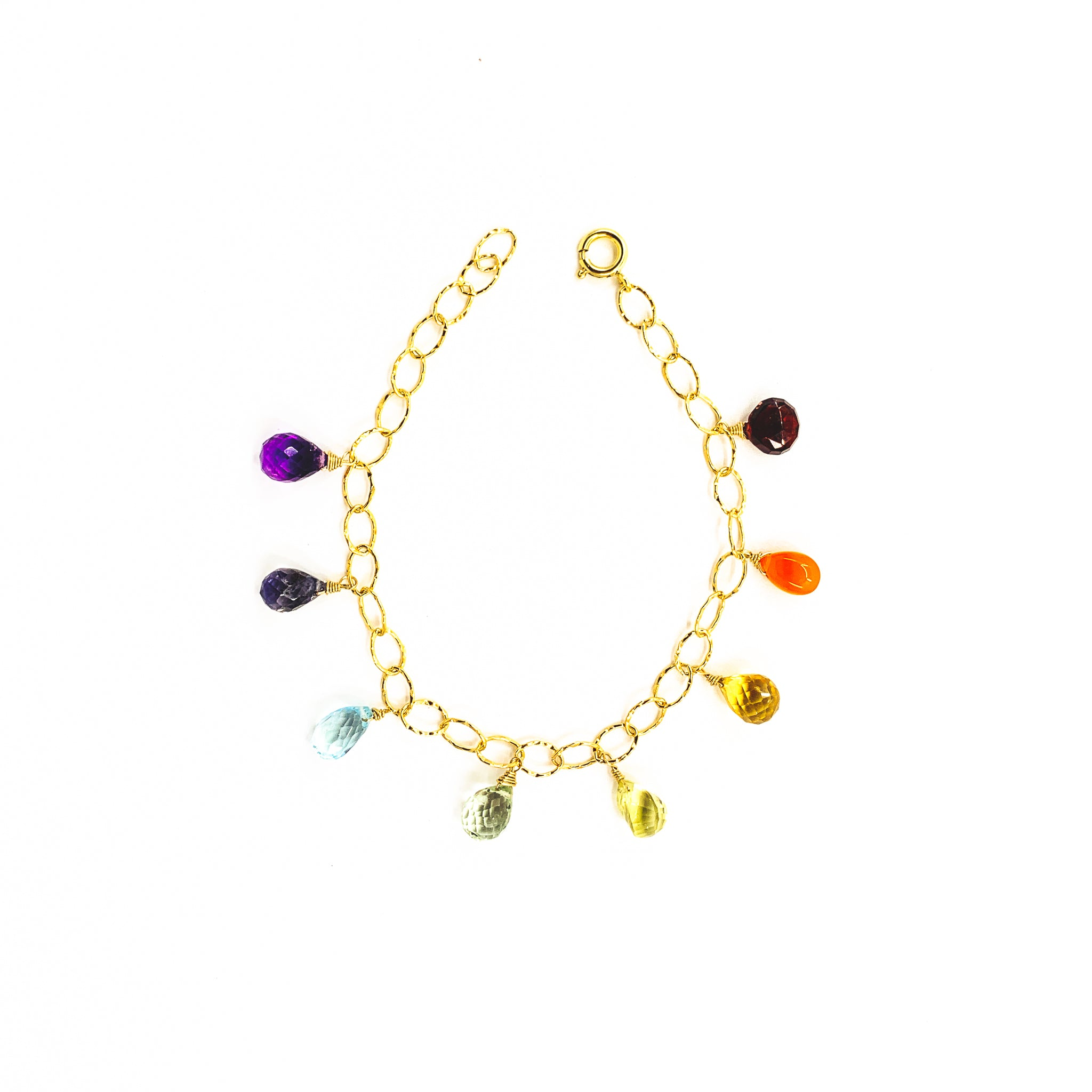 rainbow gemstones gold charm bracelet by eve black jewelry made in Hawaii