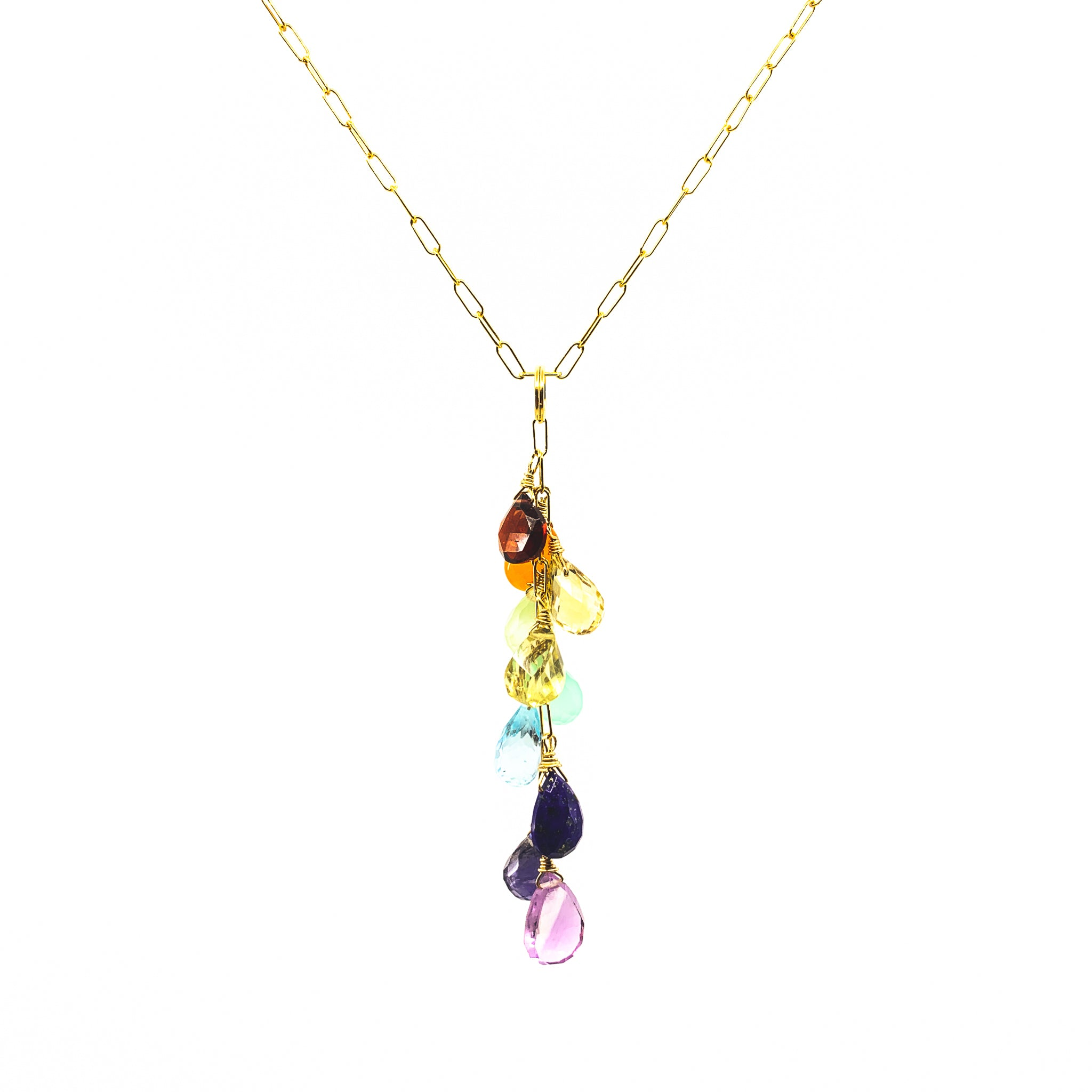 rainbow gemstones necklace by eve black jewelry made in hawaii