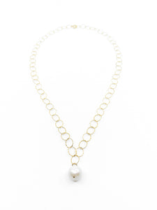 white pearl round gold chain necklace by eve black jewelry made in Hawaii