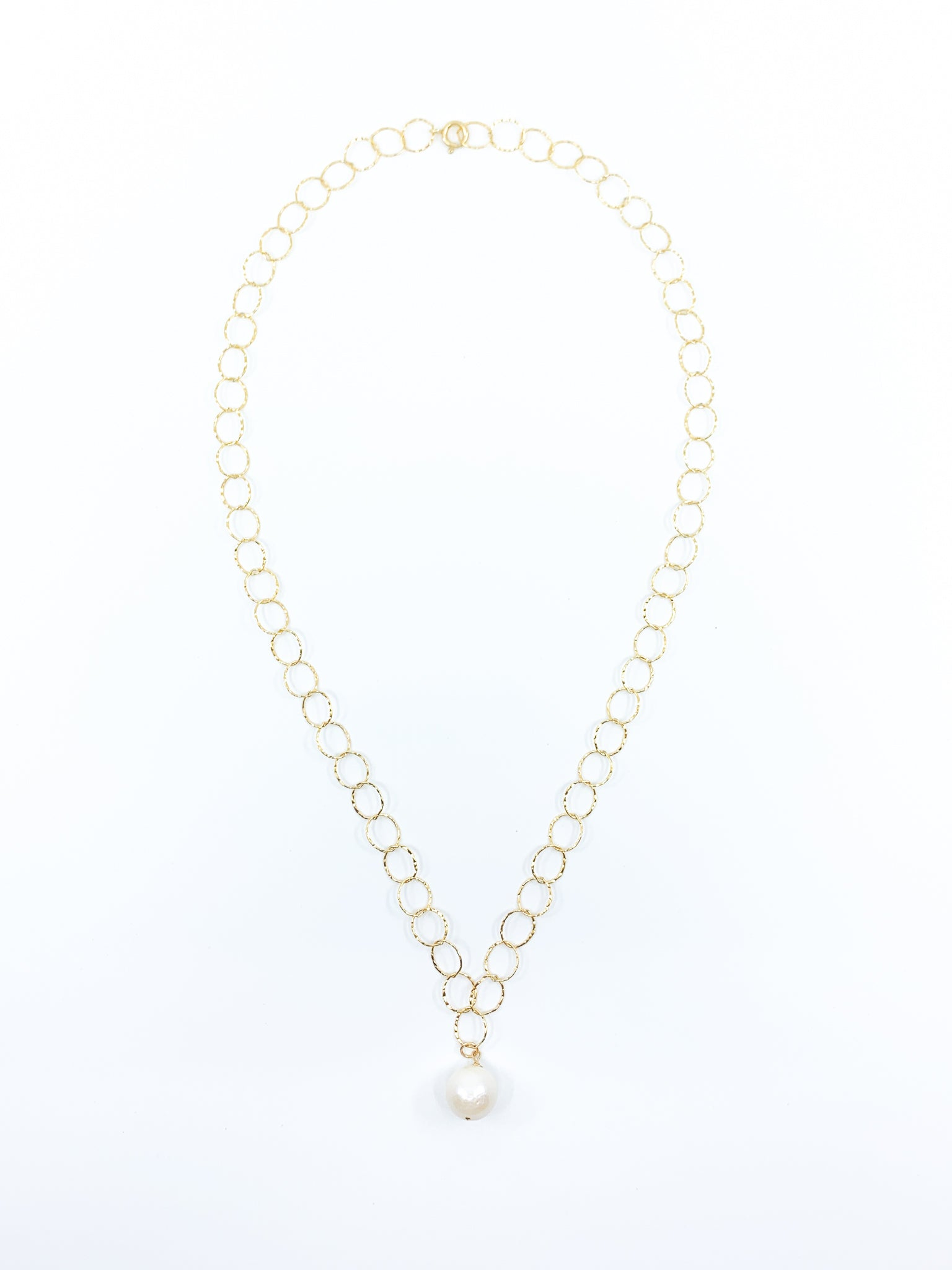 white pearl gold chain necklace by eve black jewelry made in Hawaii