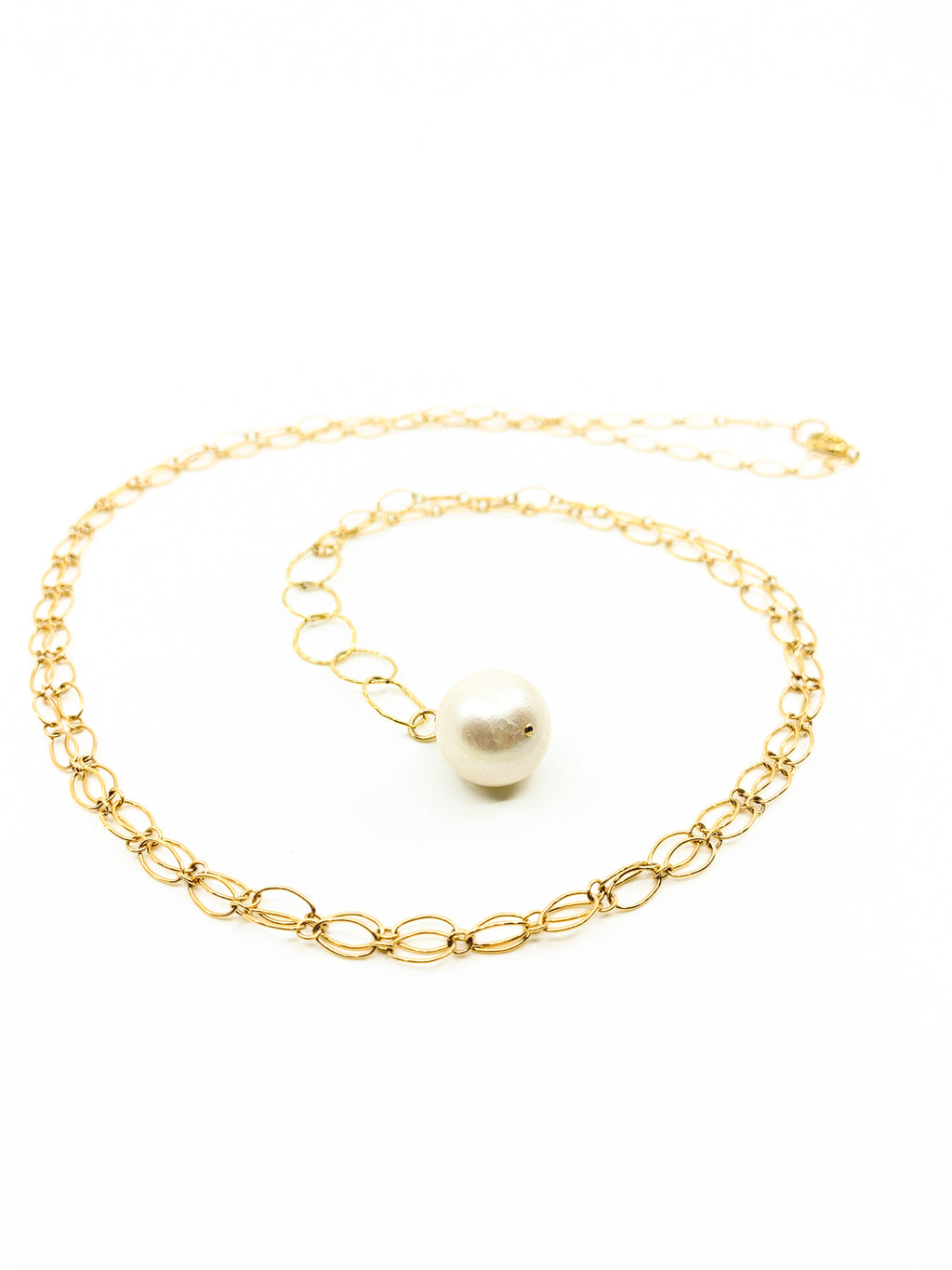 white pearl long gold chain necklace by eve black jewelry made in Hawaii