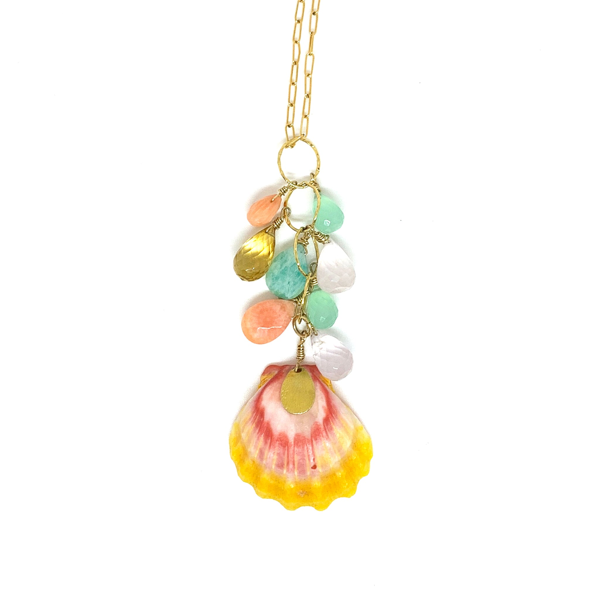 Hawaiian sunrise shell, coral , rose quartz, citrine , amazonite , chalcedony necklace eve black jewelry Hawaii
