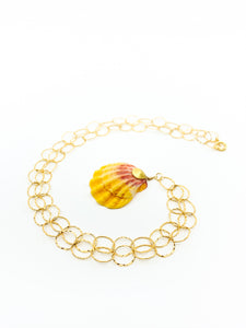 hawaiian sunrise shell gold chain by eve black jewelry made in Hawaii