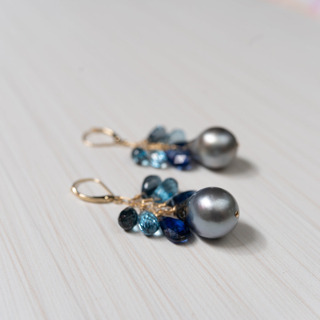 tahitian pearl and blue gemstone 14k gold earrings, handmade in hawaii, by eve black jewelry