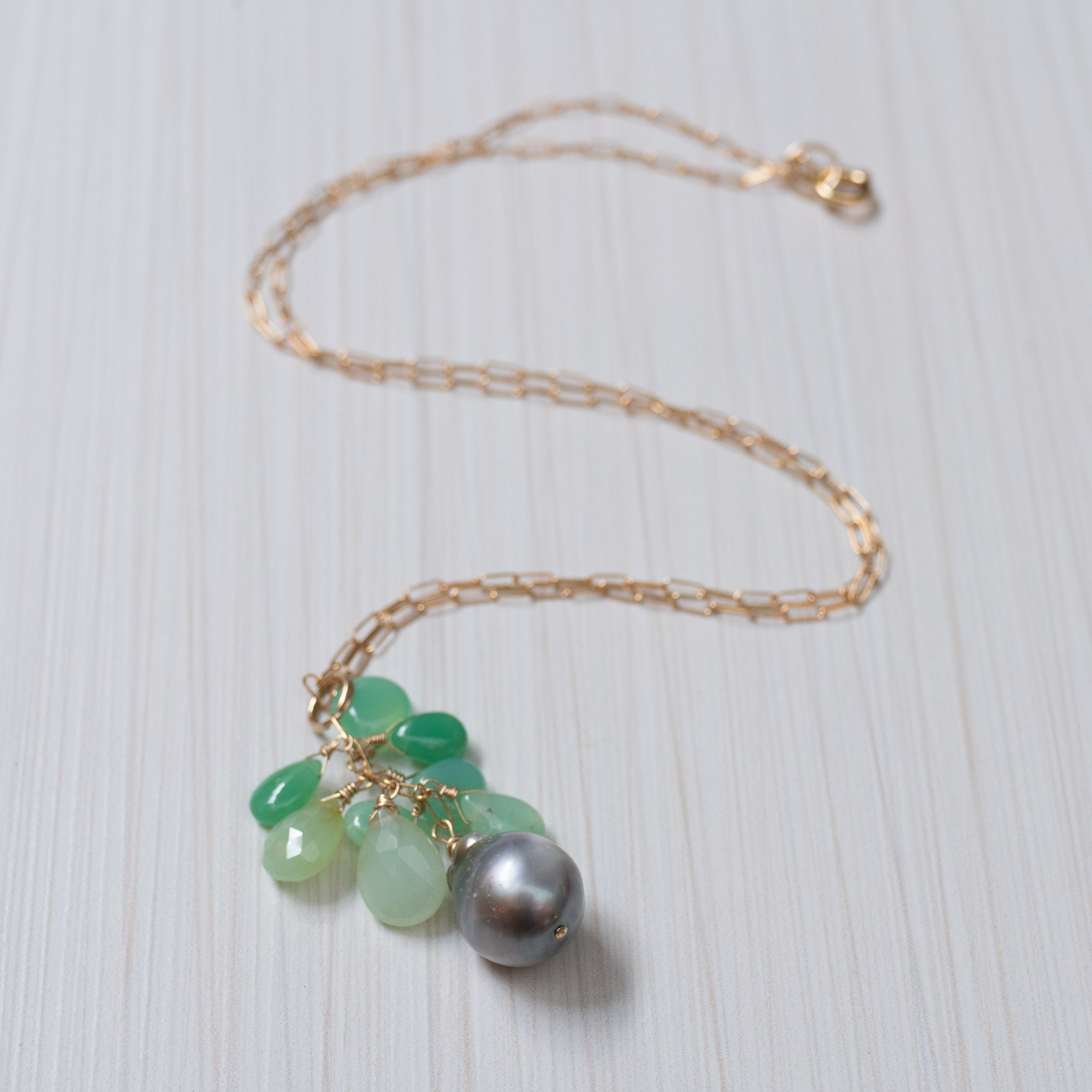 Tahitian Pearl and Chrysoprase necklace, handmade in Hawaii by Eve Black Jewelry