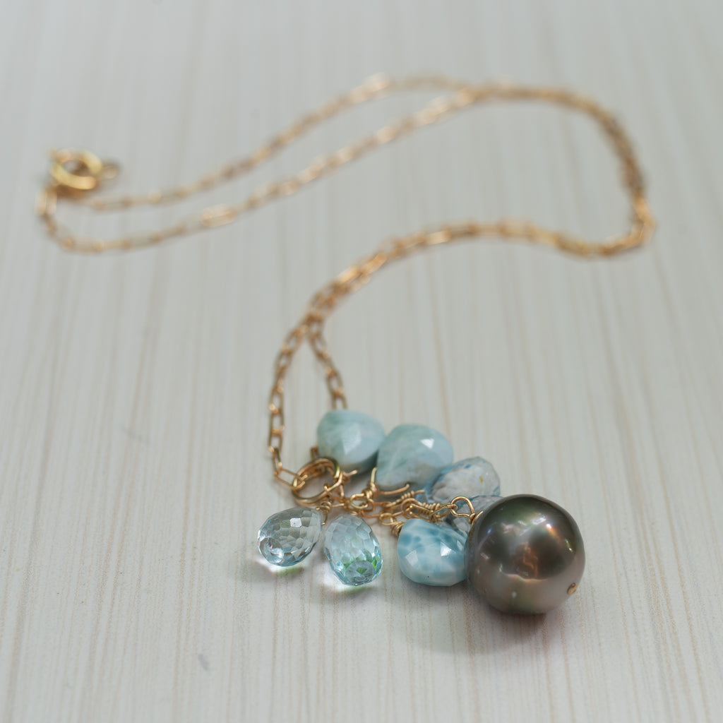 tahitian pearl and larimar necklace , handmade in Hawaii by eve black jewelry