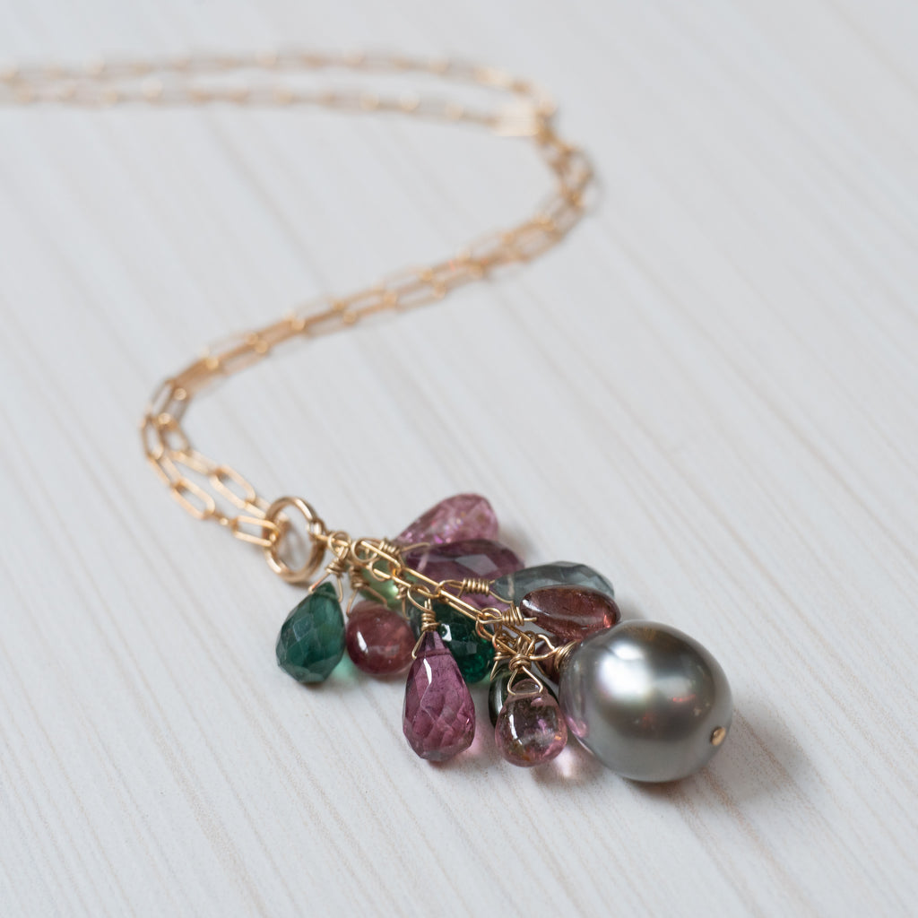 tahitian pearl and Tourmaline necklace, handmade in Hawaii by eve black jewelry