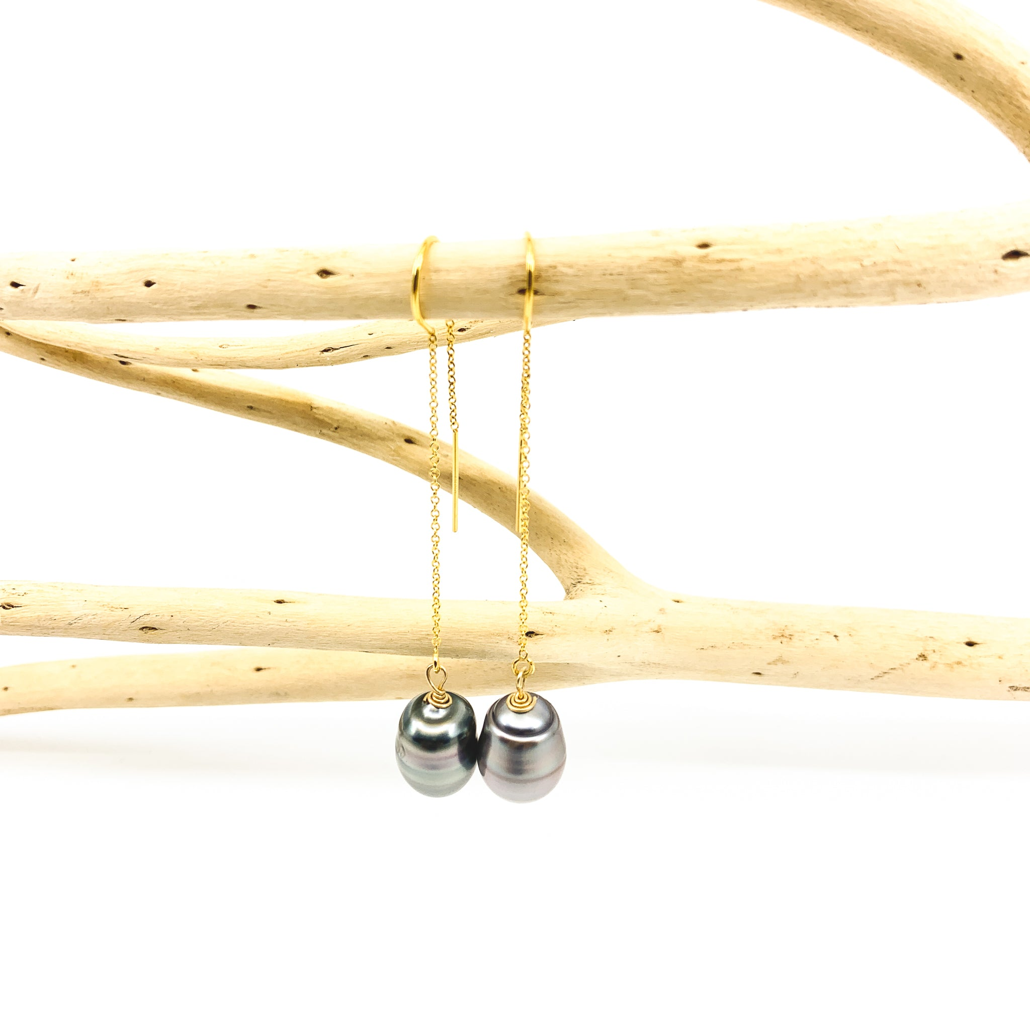 tahitian pearls threader style gold fill earrings by eve black jewelry made in Hawaii