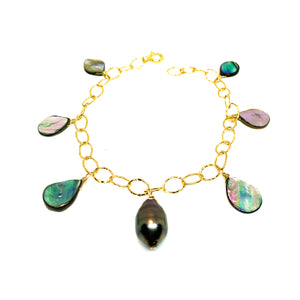 Tahitian pearl +abalone shell bracelet by eve black jewelry, handmade in Hawaii