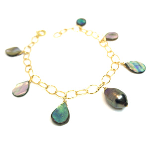 Tahitian pearl and abalone shell bracelet by eve black jewelry handmade in Hawaii
