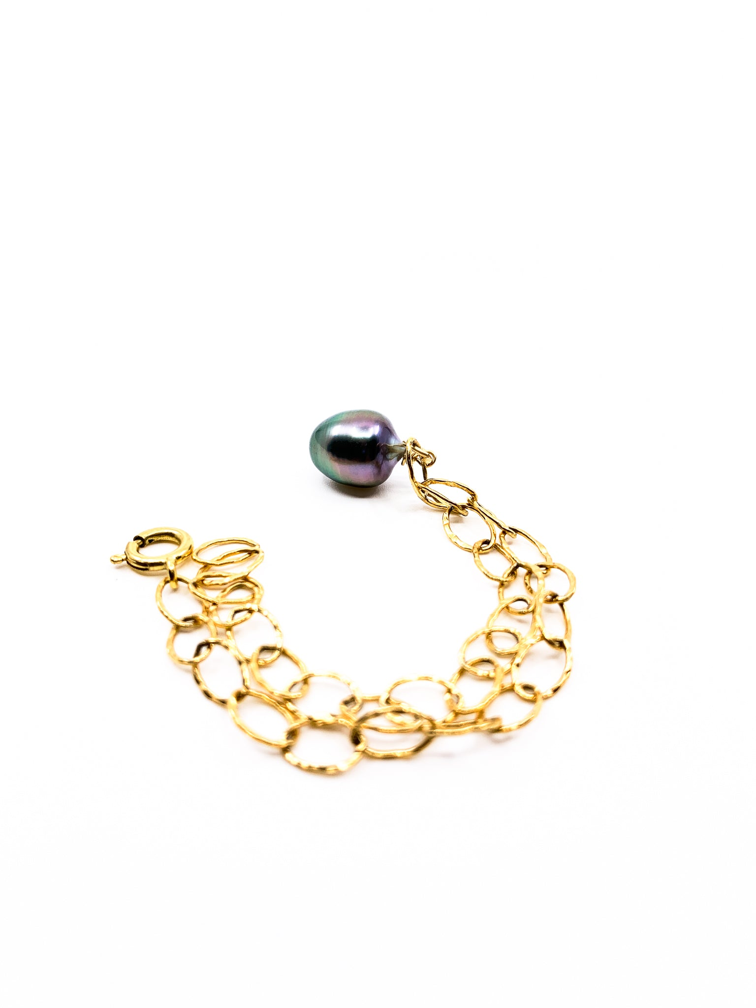 Tahitian Pearl gold chain charm bracelet by eve black jewelry made in Hawaii