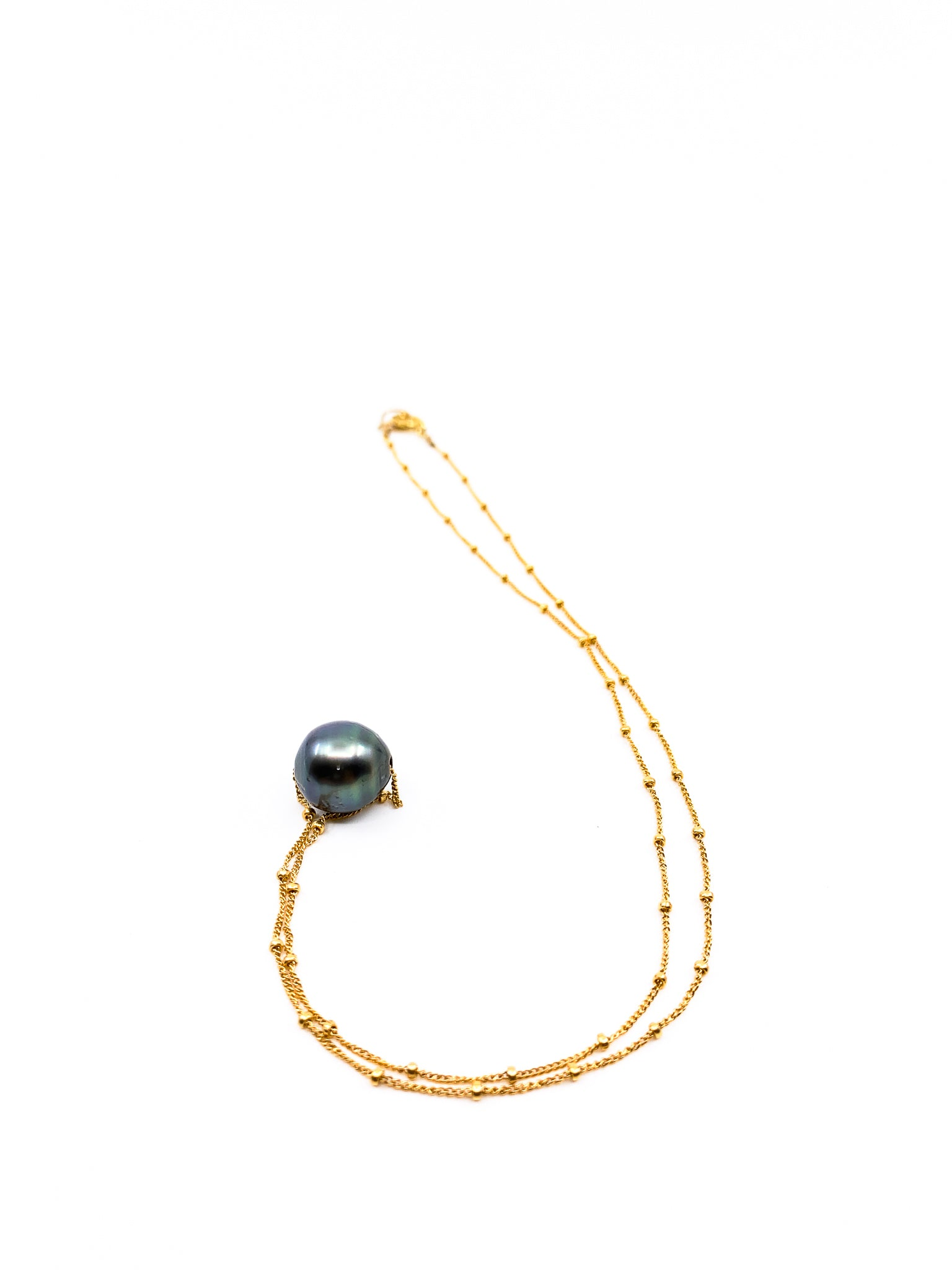 Tahitian Pearl necklace delicate gold chain necklace by black jewelry made in Hawaii