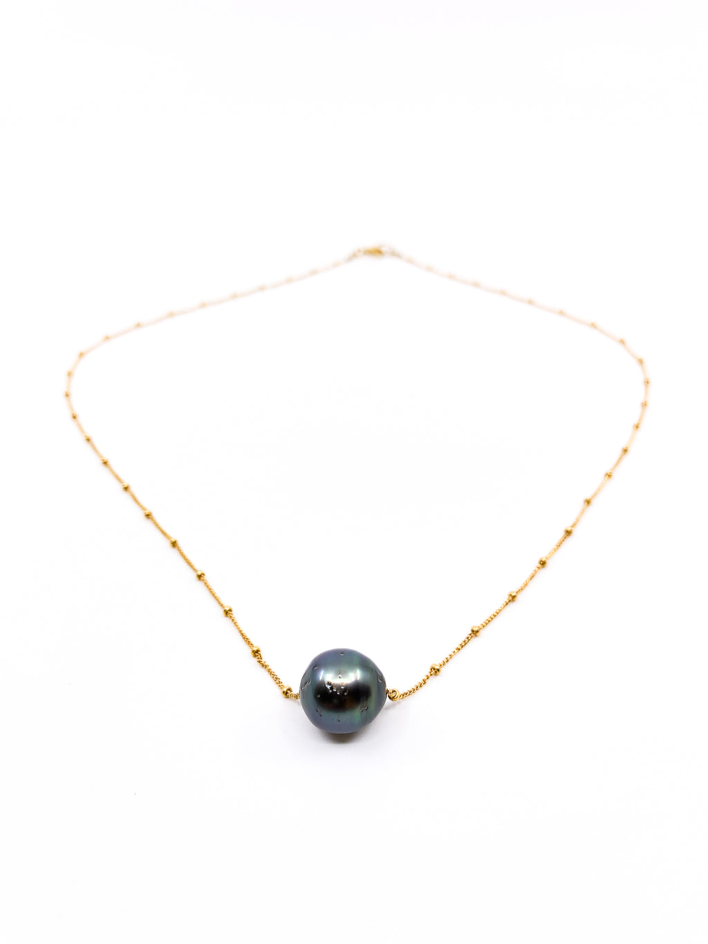 tahitian pearl delicate gold chain necklace by eve black jewelry made in Hawaii