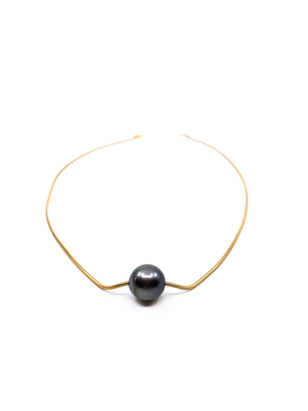 floating Tahitian pearl snake chain necklace by eve black jewelry made in Hawaii