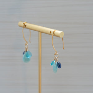Larimar Apatite Kyanite Gold Earrings