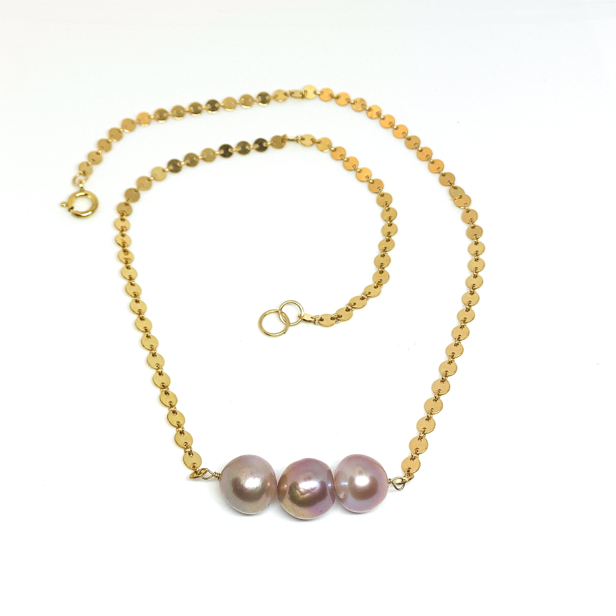 three pink Edison pearl necklace with short disc chain 14k gold fill