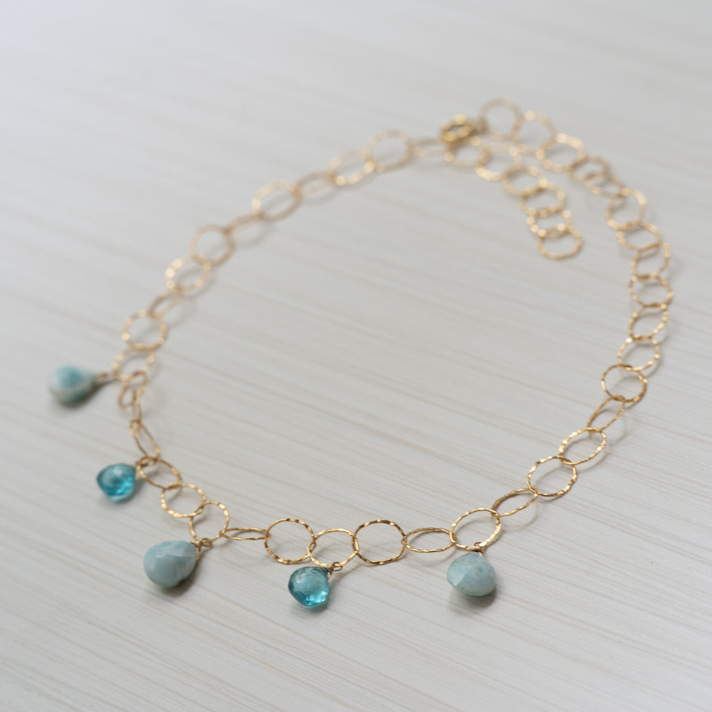 larimar and apatite gold necklace  Edit alt text