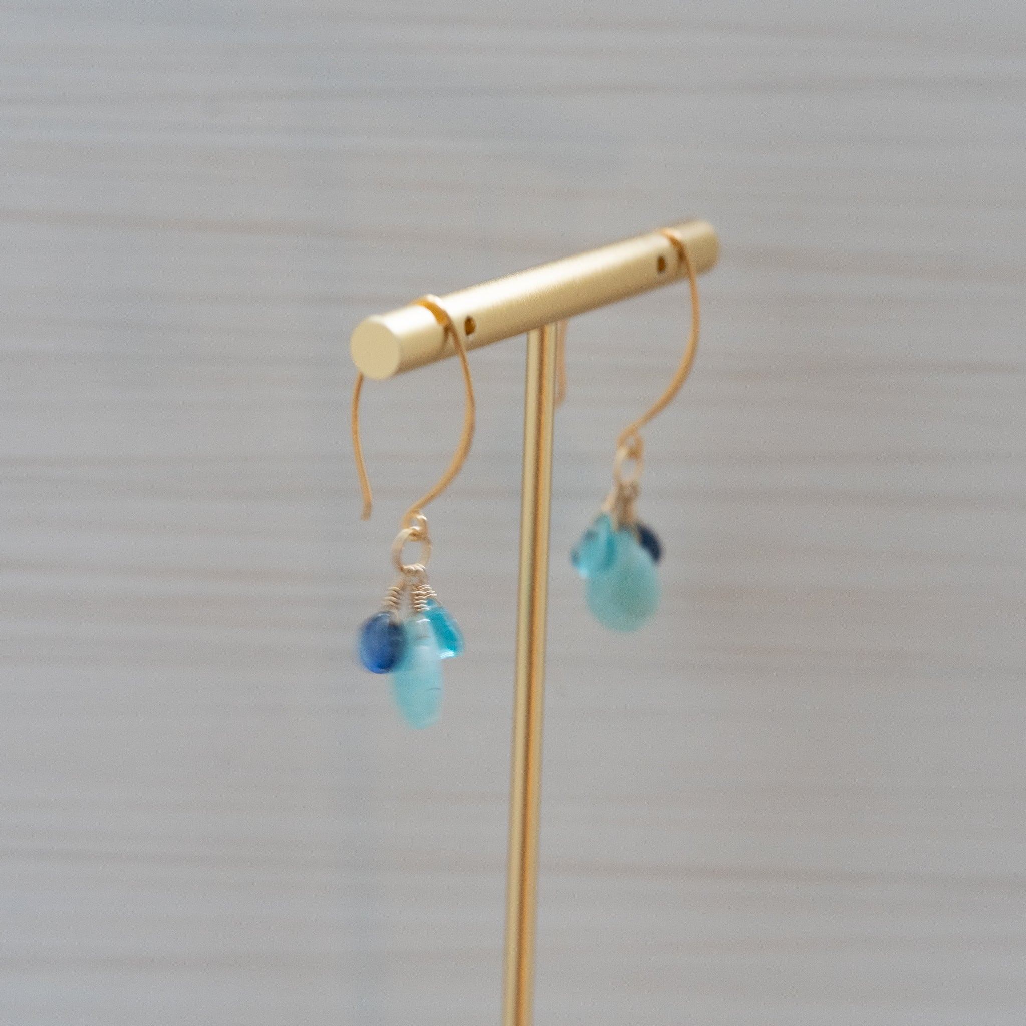 Larimar Apatite Kyanite Gold Earrings  Edit alt text