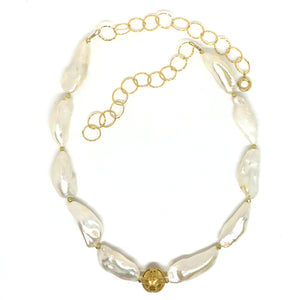 long white pearl necklace center gold bead eve black jewelry Hawaii