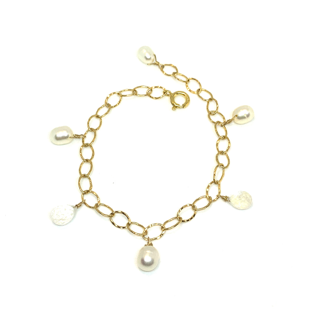 white pearl and moonstone charm bracelet by eve black jewelry handmade in Hawaii