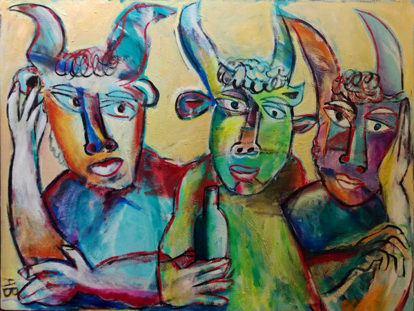 Auguste Blackman '3 Amigos ' - Acrylic on canvas