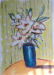 Auguste Blackman 'Lillies 13' - ink and wash on Hahnemühle paper