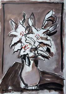 Auguste Blackman 'Lillies 2' - ink and wash on Hahnemühle paper
