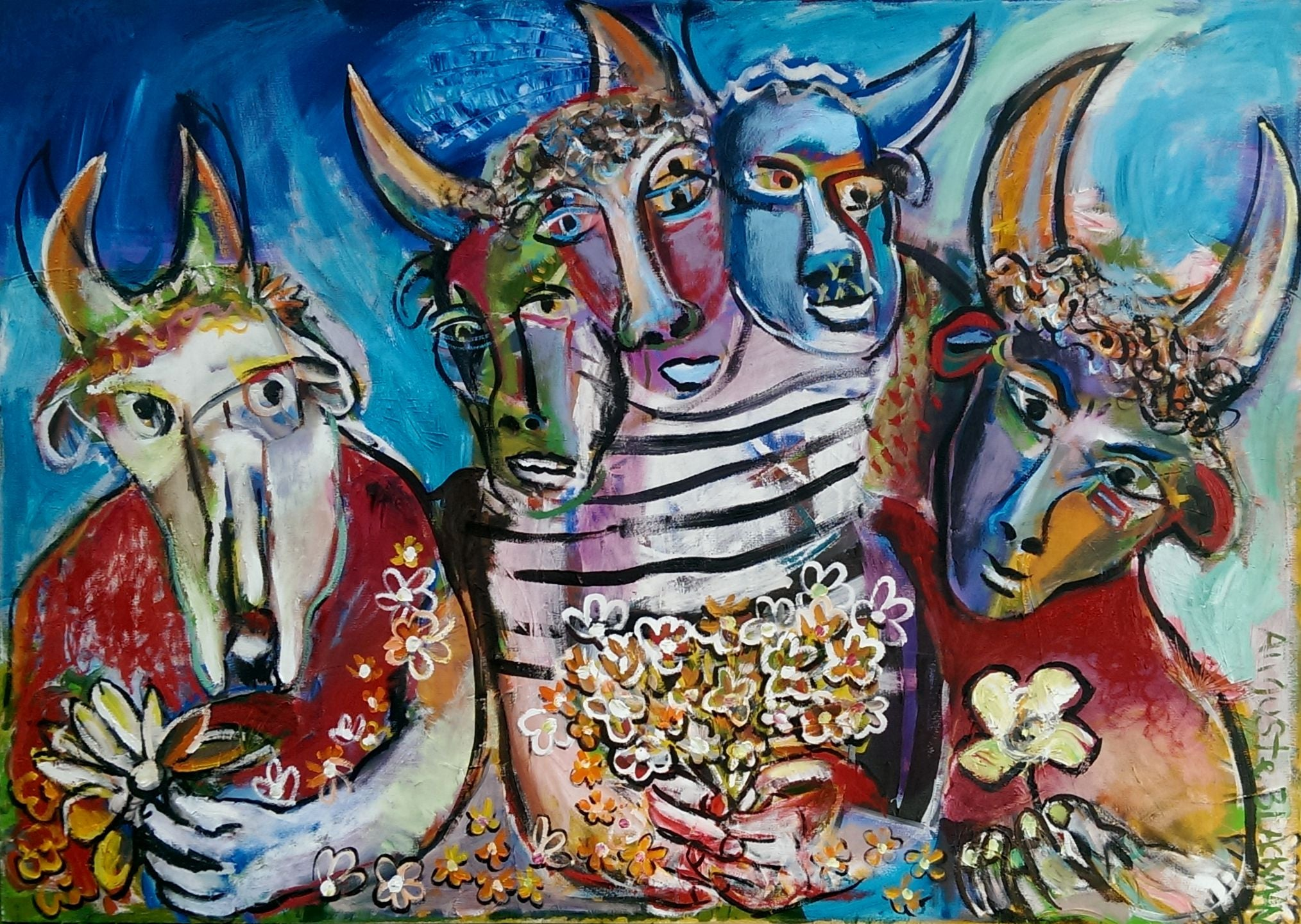 Auguste Blackman 'Picasso's Monsters' - Acrylic on canvas