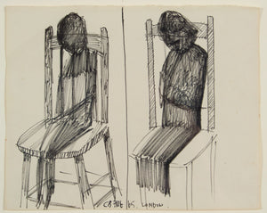 Charles Blackman 'Untitled ( Seated Figures ) ' - Black Ink on Paper