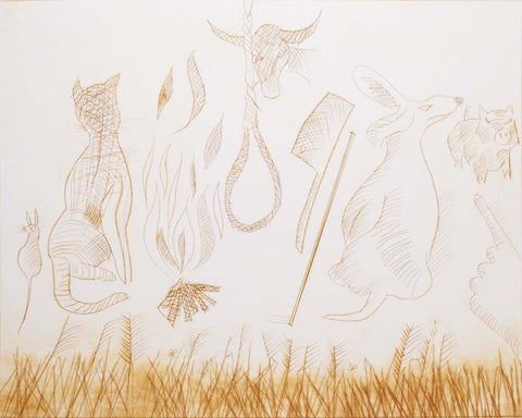 Charles Blackman 'Fire Won't Burn Stick, Stick Won't Beat Dog...' - Etching  on paper
