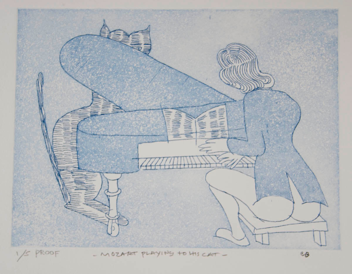 Charles Blackman 'Mozart Playing to His Cat'